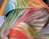 Vibrant Orange, Red, and Blue Silk Scarf
