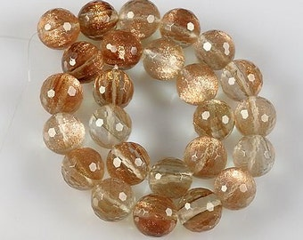 Sparkle...Lab Created Gold Rutile Quartz Faceted 15.5mm Round Ball Beads, pack of 4