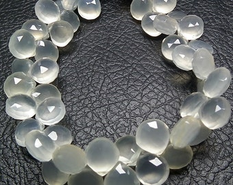 Delicate Natural Cream Off White Chalcedony 9.5-10mm Faceted Heart Briolette Beads 6 beads set