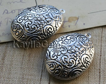Lockets Oval Hand Touched Antique Silver Floral Cherry Blossom Vintage Style   -  LKOS-L3AS - 2pcs
