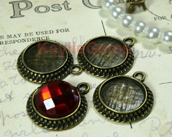 20mm Round Fits 14mm Cabochon Setting Base Charm Pendant -Antique Brass -FRM-12331AB - 4 pcs