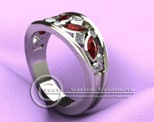 Unique Rubies and diamonds in Custom Open Band