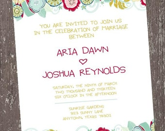 Floral Invitation - 1.00 each with envelope