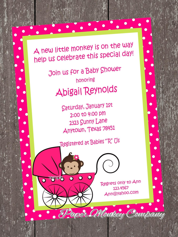 monkey baby shower invitation by pmcinvitations on etsy