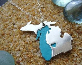 Michigan Pendant Necklace with Upper Peninsula & Lake Michigan in Sterling Silver