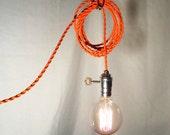 Hanging Lamp - Twisted Orange Cord - Exposed Edison Bulb