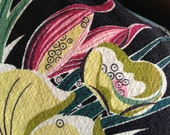 Mod Psychedelic 1960s  Abstract Flowered Vintage Cotton Barkcloth Fabric