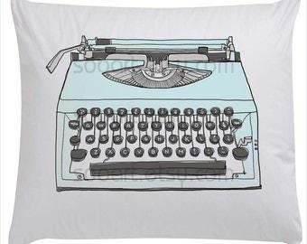 blue pastel Typewriter old  --Original Illustrate Drawing  Print transfer on Pillows, t-shirts, scrapbook, lampshades  ETC.v
