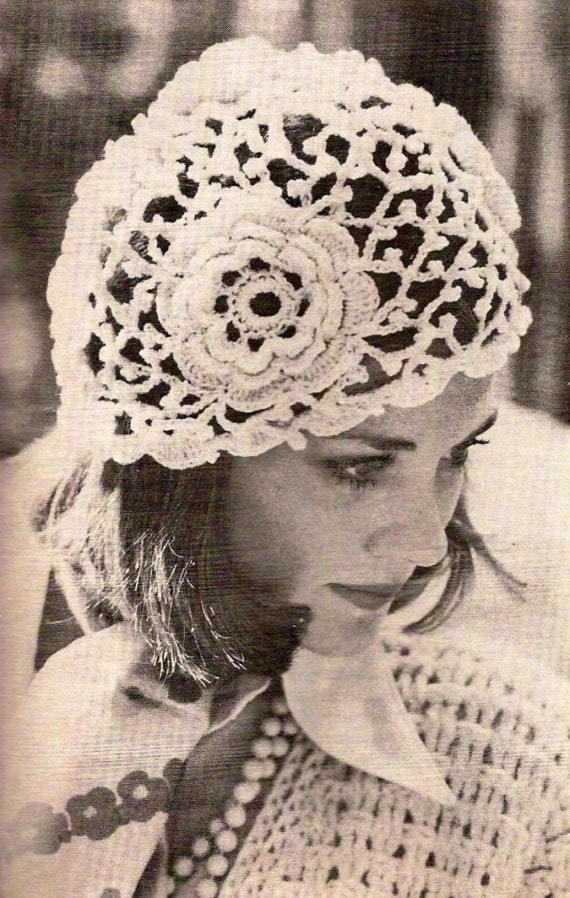 Free Vintage Irish Crochet Patterns : Irish Rose Crochet Hat Vintage Crochet Pattern 359