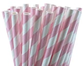 25 Light Pink Stripe Paper Straws with Printable Party Flags PDF File