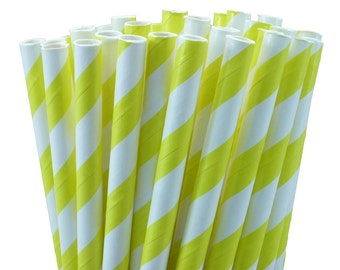 25 Yellow Striped Paper Straws with Printable Party Flags PDF File