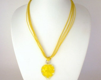 Yellow heart necklace, Murano style glass heart necklace