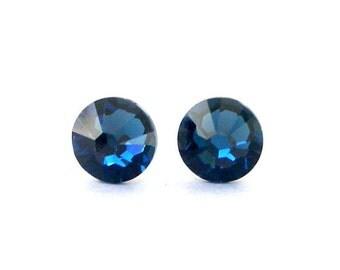 Montana Blue crystal stud earrings, 7mm deep blue Swarovski crystal, 7mm sparkly posts