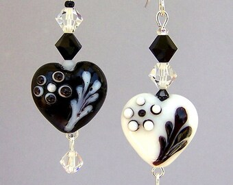 White and black heart earrings, mismatched earrings, black and white heart earrings, birthday gift for her, asymmetrical hearts