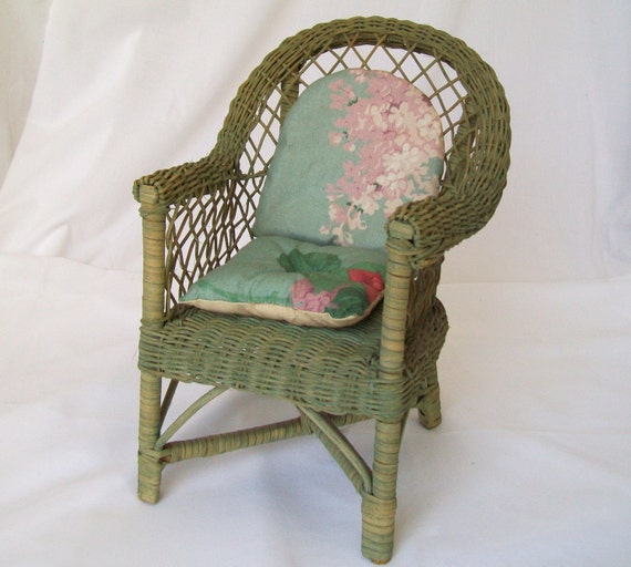 wicker doll chair 11 inch tall green seat with cushions vintage toy