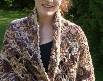 Prayer Shawl, Hand Crochet Shawl, Brown Shawl, Crochet Wrap (Free US Shipping)
