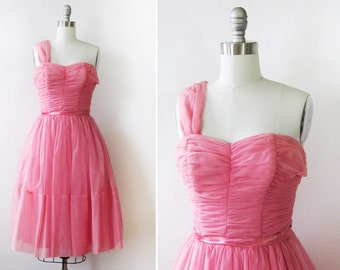 50s pink dress, 1950s chiffon party dress, vintage pink prom bridesmaid dress,  extra small xs