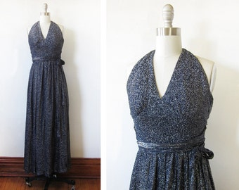 metallic maxi dress, vintage 70s disco dress, navy lurex halter dress, xxsmall dress