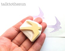 swallow silhouette stamp. bird hand carved rubber stamp. woodland animal stamp. wedding bird stamp. card making/spring craft projects
