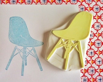 vintage chair stamp. eames chair hand carved rubber stamp. mid century interior design. birthday scrapbooking. gift wrapping. holiday crafts