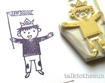 little boy rubber stamp. japanese children's day hand carved rubber stamp. boy's birthday crafts. baby shower card making. gift wrapping