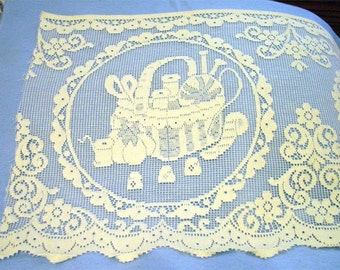 SEWING BASKET Cotton 18 inch Cotton Lace Square Crafts Pillow Decor Natural Shabby Chic Cottage