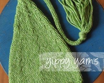 Newborn Knit Hat Baby Knit Green Speckled Elf Nightcap with Tassel Spring Easter Cotton/Wool