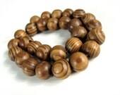 30 Wood Beads Natural Strip Wood Brown 12mm round  (PB209B)
