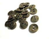 6 Antique bronze metal small sewing buttons 11mm  (BM302)