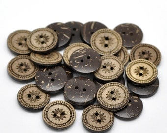 Coconut button 10 Brown Coconut Shell Buttons 18mm -  Country Flower (BC617)