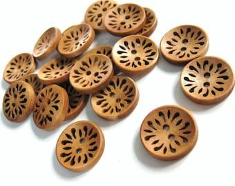 6 hollow flower wooden buttons 23mm  #BB122