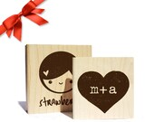 "Custom Rubber Stamp  Custom Stamp  Logo Stamp  Personalized Stamp  Custom Wedding Stamp  Gifts for Her  Gifts for Him  2 x 2"" WOOD"