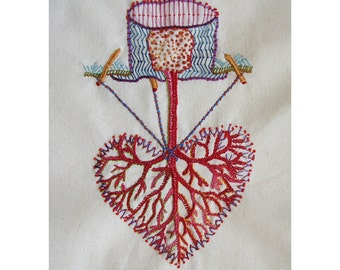 Image of Hand Embroidered Heart - Valentine Blank Card