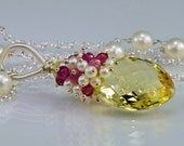 OoO SaleOoO Lemon Quartz Tourmaline Gemstone Necklace, Ruby Pearl Sterling Silver Wire Wrapped Necklace