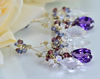Alexandrite Chandelier Earrings Moonstone Rock Crystal Garnet Sterling Silver Gemstone Cluster Earrings