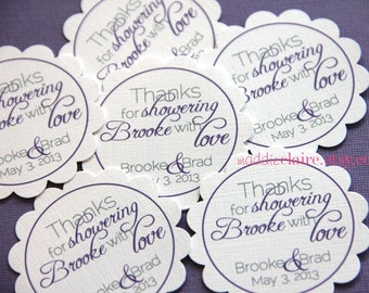 Personalized Purple and Gray Bridal Shower or Wedding Favor Tags