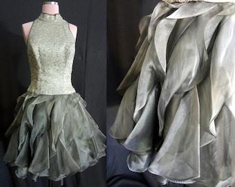 Metallic Silver Lace and Ruffles Vintage Dress  - Small Medium - Vintage Prom Dress