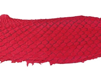 Hot PINK Exotic Glossy Eco Friendly, CHROME free, real Tilapia Fish Leather Skin from Go Fish Leather. Sold by each skin.