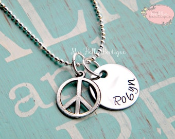 Personalized Hand Stamped Name Necklace with Silver Tone Peace Sign Charm