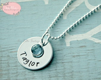 Personalized Hand Stamped Necklace with Drop Style Swarovski Birthstone