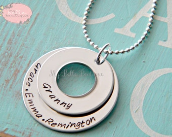 Personalized Hand Stamped Double Washer Necklace with Family Names