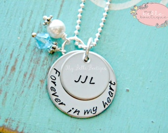 Forever In My Heart - Personalized Memorial Necklace with Name, Birthstone and Swarovski Pearl Charm