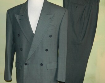 41 R Vintage 80s Issimo Suit Italian Marzatto Steel Gray Virgin Wool Classy W 36/ L 28 Double Breasted Gangster Suit