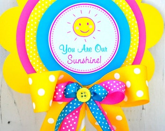 You Are My Sunshine Centerpiece, Deluxe Party Centerpiece in Yellow, Hot Pink and Sky Blue, You are My Sunshine Birthday