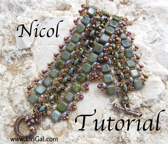 Tutorial PDF SuperDuo Nicol y pulsera de abalorios de Tila