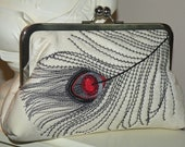 Peacock Feather Embroidered Silk Silk Kimono Fabric Clutch/Purse/Bag..Red Black on Ivory