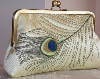 Peacock Feather Embroidered Clutch/Purse/Bag on Silk Kimono Fabric..Golden Lime..Free Monogram..Bridal/Wedding/Gift..Ready to Ship Sale