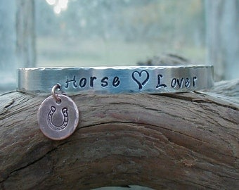 Horse Lover  Hand Stamped Cowgirl Equestrian Western Rodeo Cuff