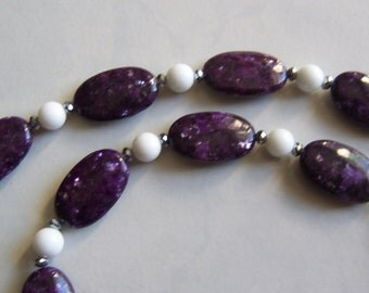 Glittery Purple Stone & Mountain Jade Necklace. Baltimore Ravens Colors