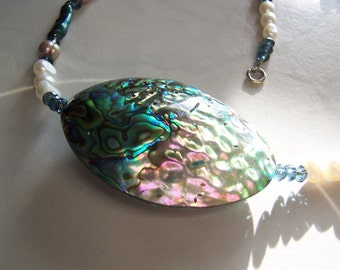 Large Abalone, Freshwater Pearl & Blue Swarovski Crystal Necklace. Beach Jewelry. PA2